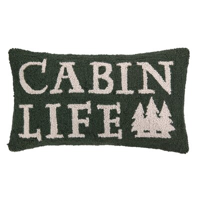 Cabin Life Hook Wool Lumbar Pillow