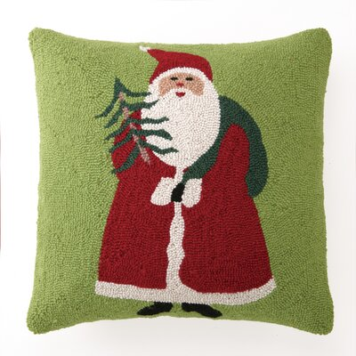 Santa Holding Tree Hook Wool Throw Pillow