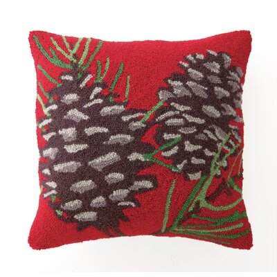 Pine Cones Hook Wool Throw Pillow