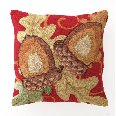 Acorns Hook Wool Throw Pillow