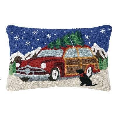 Lab and Tree with Car Hook Wool Throw Pillow