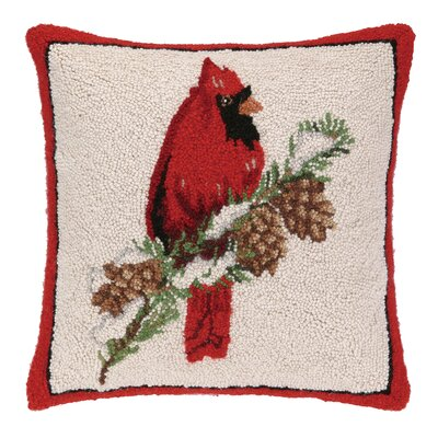 Cardinal on Pine Branch Hook Wool Throw Pillow