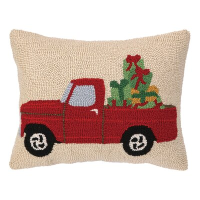 Truck Home the Presents Hook Wool Throw Pillow