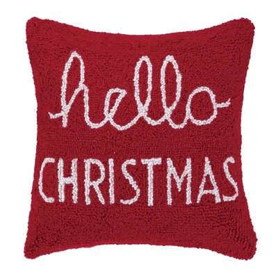 Hello Christmas Hook Wool Throw Pillow