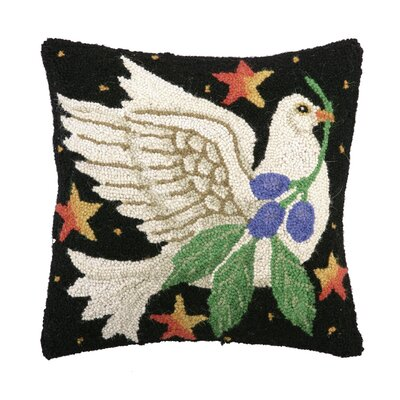 Holiday Dove Hook Wool Throw Pillow