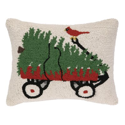 Wagon, Tree and Cardinal Hook Wool Throw Pillow
