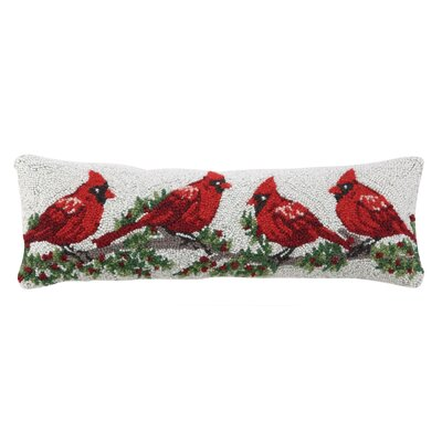 Winterberry Cardinal Hook Wool Throw Pillow