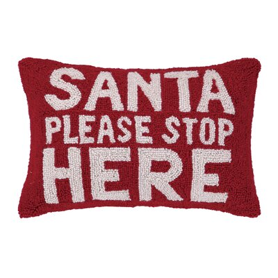 Santa Please Stop Here Hook Wool Throw Pillow