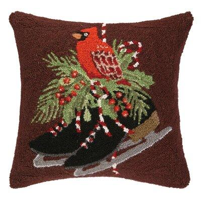 Cardinal and Skates Hook Wool Throw Pillow
