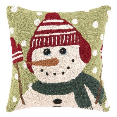 Snowy Snowman Hook Wool Throw Pillow
