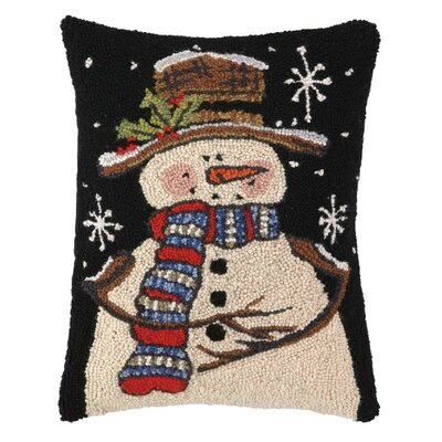 Snowman with Starry Sky Hook Wool Throw Pillow