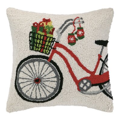 Presents on Bicycle Hook Wool Throw Pillow