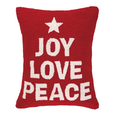 Joy Love Peace Hook Wool Throw Pillow