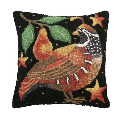 Holiday Partridge Hook Wool Throw Pillow