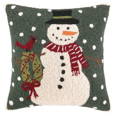 Snowy Snowman Wreath Hook Wool Throw Pillow