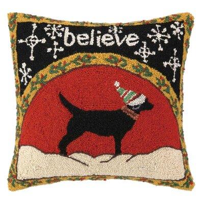 Believe Dog Hook Wool Throw Pillow