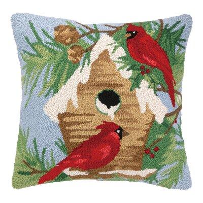 Winter Bird Hook Wool Throw Pillow