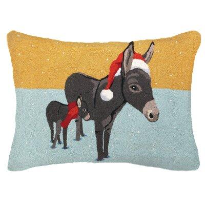 Donkey Christmas Hook Wool Throw Pillow