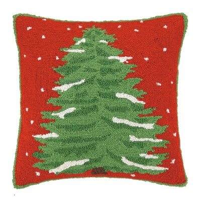 Folksy Holiday Tree Hook Wool Throw Pillow