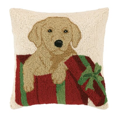 Lab Holiday Gift Hook Wool Throw Pillow