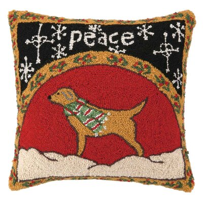 Peace Dog Hook Wool Throw Pillow