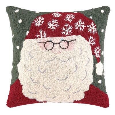 Snowy Santa Hook Wool Throw Pillow