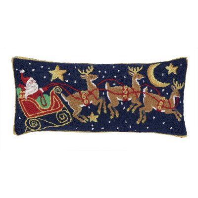 Santa Three Reindeers Hook Wool Throw Pillow