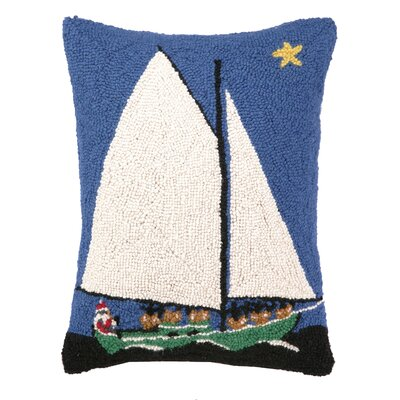 Sailing Christmas Hook Wool Throw Pillow