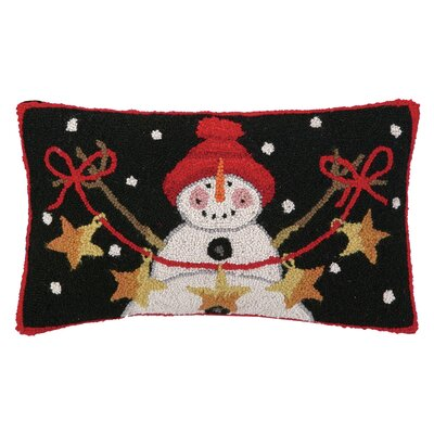 Snowman with Stars Hook Wool Throw Pillow