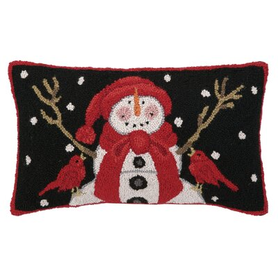 Snowman with Two Cardinals Hook Wool Throw Pillow