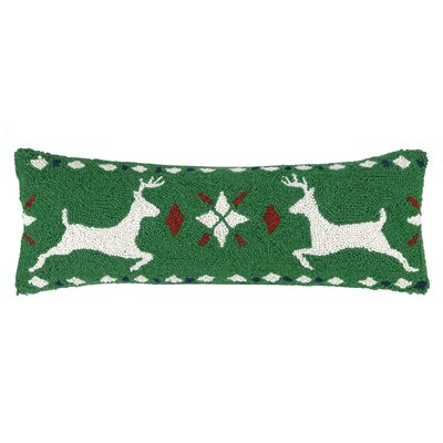 Fair Isle Reindeer Hook Wool Throw Pillow