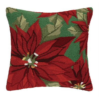 Poinsettia Glory Hook Wool Throw Pillow