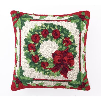 Fruit and Foliage Wreath Hook Wool Throw Pillow