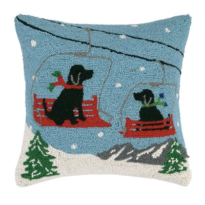 Ski Lift Dogs Hook Wool Throw Pillow