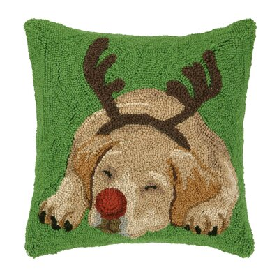 Reindeer Dog Hook Wool Throw Pillow