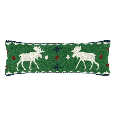 Fair Isle Moose Hook Wool Throw Pillow