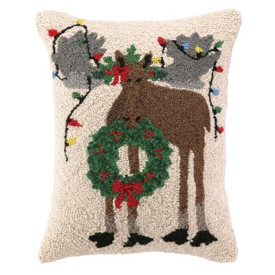 Holiday Moose Hook Wool Throw Pillow