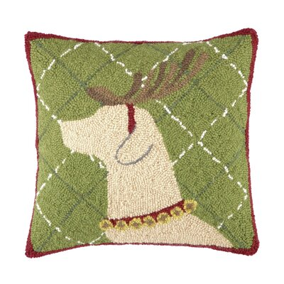 Lab with Antlers Hook Wool Throw Pillow