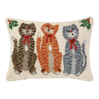 Caroling Cat Trio Hook Wool Throw Pillow