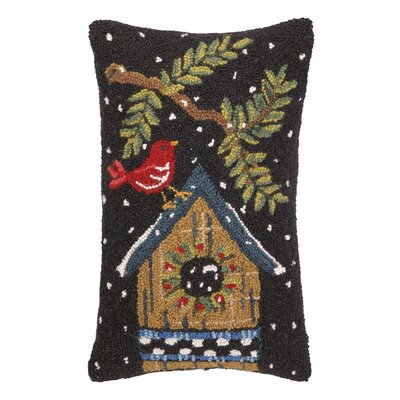 Bird and House Hook Wool Throw Pillow