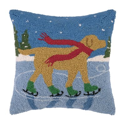 Lab Ice Skates Hook Wool Throw Pillow