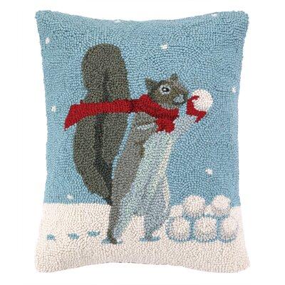 Snowball Fight Hook Wool Throw Pillow