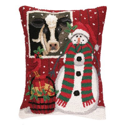 Snowman with Cow Hook Wool Throw Pillow