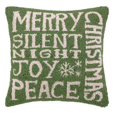 Holiday Text Hook Wool Throw Pillow