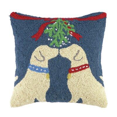 Lab Under Mistletoe Hook Wool Throw Pillow