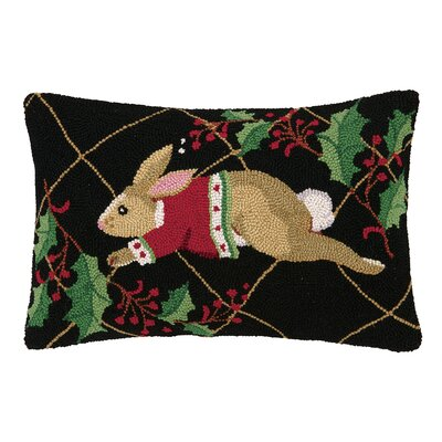 Happy Holidays Rabbit Hook Wool Throw Pillow