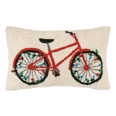 Holiday Bike with Lights Hook Wool Throw Pillow