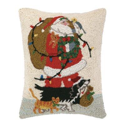 Santa and Pets Hook Wool Throw Pillow