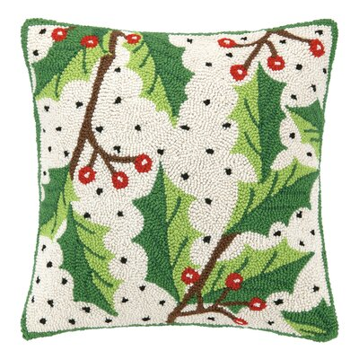 Holly Berry Hook Wool Throw Pillow