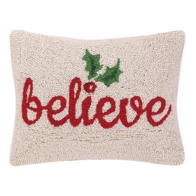 Believe Holly Hook Wool Throw Pillow